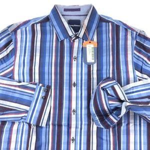 Tommy Bahama Shirt Stripe Breaker DK Cobalt LS